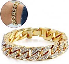 Bracelet 14mm Hip hop Iced Out Curb Cuban Bracelet Chain Yellow Gold Plated Paved Clear Rhinestones Mens Womens
