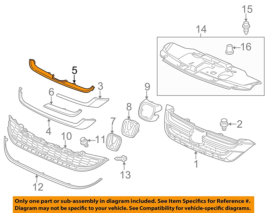 Genuine Honda 71126-SXS-A01ZF Front Grille Center Molding A