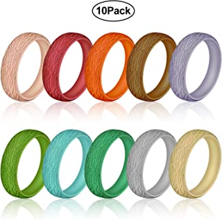 Ninge Width Silicone Wedding Rings for Women and Men,Tree Texture Design,Rubber Wedding Engagement Bands Stackable Rings, 5.5mm Wide Size 4 5 6 7 8 9 10-10 Pack