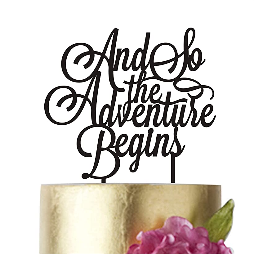 Cake Topper And so the adventure begins Wedding cake toppers for wedding decorations HappyPlywood (width 5