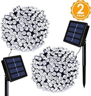 ORA Solar Powered 112 foot, 200 LED String Lights with Automatic On and Off for Outdoor and Indoor Use (2 Pack)