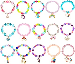 دستبندهای 15 تکه رنگارنگ تک شاخ دستبند مهره ای رنگین کمان دستبند مهره ای کمان برای جشن تولد به نفع جشن تولد