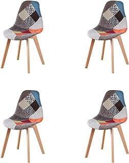 N/A Juego de 4 sillas de Comedor Modernas con Patas de Madera Tapizadas en Tela para Comedor, Sala de Estar, Cocina y Oficina (Rojo)