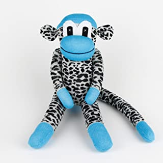 Handmade Blue Leopard Traditional Sock Monkey Doll Baby Gift Toy