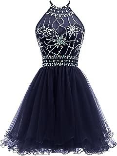 Women's Beaded Halter Homecoming Dress Short Tulle Prom Dress