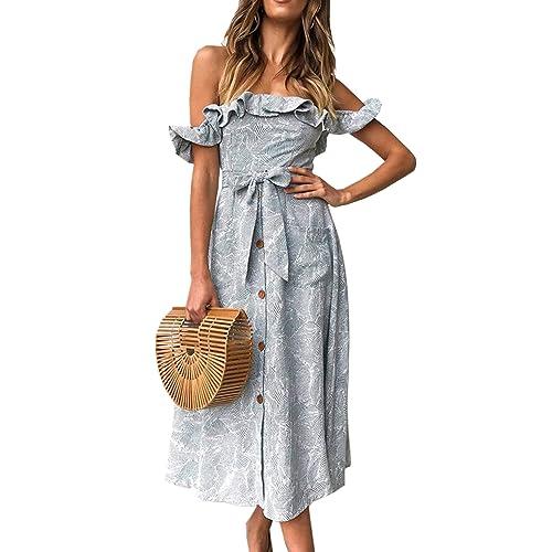 ef87cb453 Angashion Women's Sleeveless Off Shoulder Ruffles Midi Long Dress Floral  Print Tie Waist Maxi Dress with