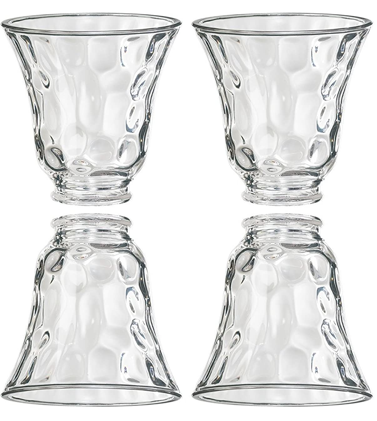 Clear Hammered Style Glass Shade (Pack of 4)