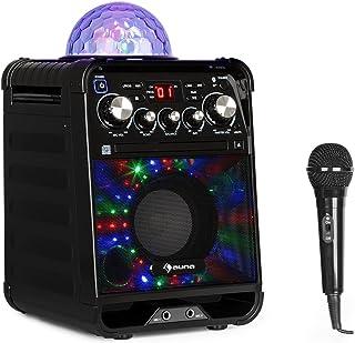 auna Rockstar - Karaoke, Equipo de Sonido pequeño, Equipo de Karaoke, Bola de Luces LED, AVC, Efecto Eco, Bluetooth, Peso Total: 3,1 Kg, CD, CD-R y CD-RW, Robusto, Negro