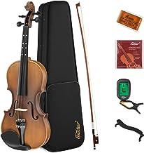 Eastar 3/4 Violin Set Fiddle for Kids Beginners Students EVA-3 Matte with Hard Case, Rosin, Shoulder Rest, Bow, and Extra ...