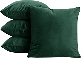Deconovo Decorative Super Soft Luxury Velvet Throw Pillow Cases Cushion Covers for Chair Set of 24 20x20 Inch Emerald