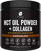 MCT Oil Powder + Collagen + Prebiotic Acacia Fiber - 100% Pure MCT's - Perfect for Keto - Energy Boost - Appetite Control - Healthy Gut Support (Chocolate, 492g)
