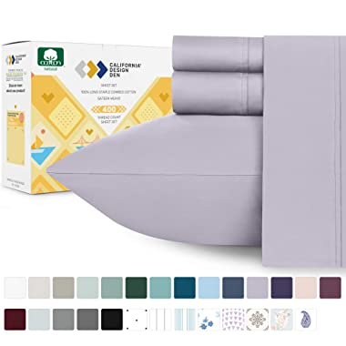 California Design Den 400-Thread-Count 100% Cotton Sheets for Bed - 4-Piece Lavender Grey Full Size Sheet Set Long-Staple Combed Cotton Bed Sheets Soft Sateen Weave Fits Mattress 16'' Deep Pocket