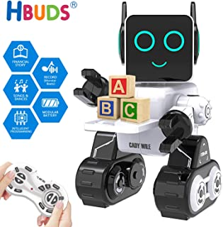 HBUDS Robots for Kids, Remote Control Robot Intelligent Interactive Robot LED Light Speaks Dance Moves Built-in Coin Bank Programmable Rechargeable RC Robot Kit for Boys, Girls,Age 8+ Years (White)