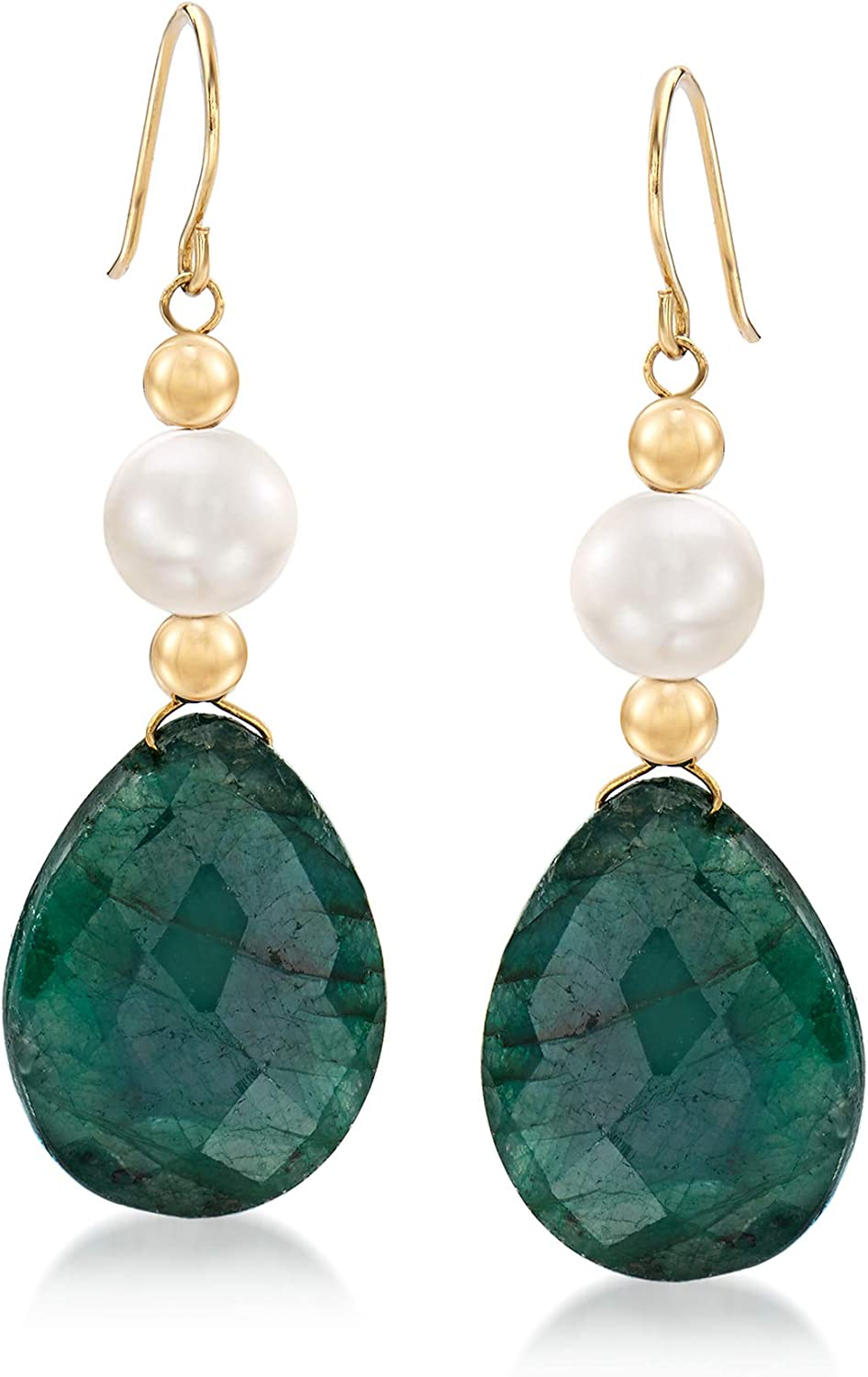 Ross-Simons Cultured Pearl and 20.00 ct. t.w. Emerald Drop Earrings in 14kt Yellow Gold