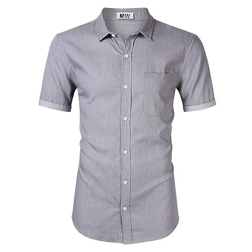82a067a184c MrWonder Men s Casual Slim Fit Button Down Dress Shirt Short Sleeve Denim  Shirts