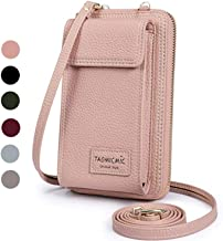 Women Purse Leather Cellphone Holster Wallet Case Mini Small Crossbody Shoulder Bag Messenger Pouch Ladies Handbag Clutch Phone Pockets for iPhone 8 Plus Xs Max X Xr 7/6 Plus Samsung S10+ (Pink)
