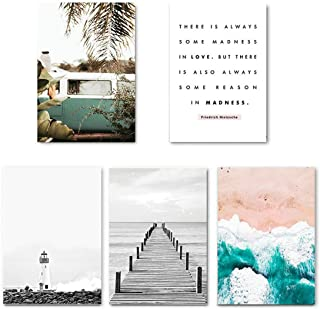 Be fearless Nordic Style Travel Landscape Wall Art Print Canvas Poster Painting Scandinavian Decorative Picture Modern Living Room Decor,28x36cm No Frame,5 pcs Set