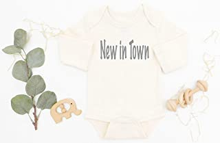 New In Town Organic Cotton Baby Bodysuit, Gender Neutral Baby Clothes, Newborn Baby Outfit, New Baby Gift, Coming Home Infant Outfit