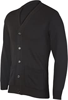 JBC Collection Mens Long Sleeve V Neck Button Front Cardigan Smart Casual Full Buttoned Cardi Jumper Plain Colour Black Na...