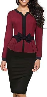 HOMEYEE Vestido Ajustado de Oficina Bodycon de Retazos de Color Peplum con Contraste Vintage para Mujer B554