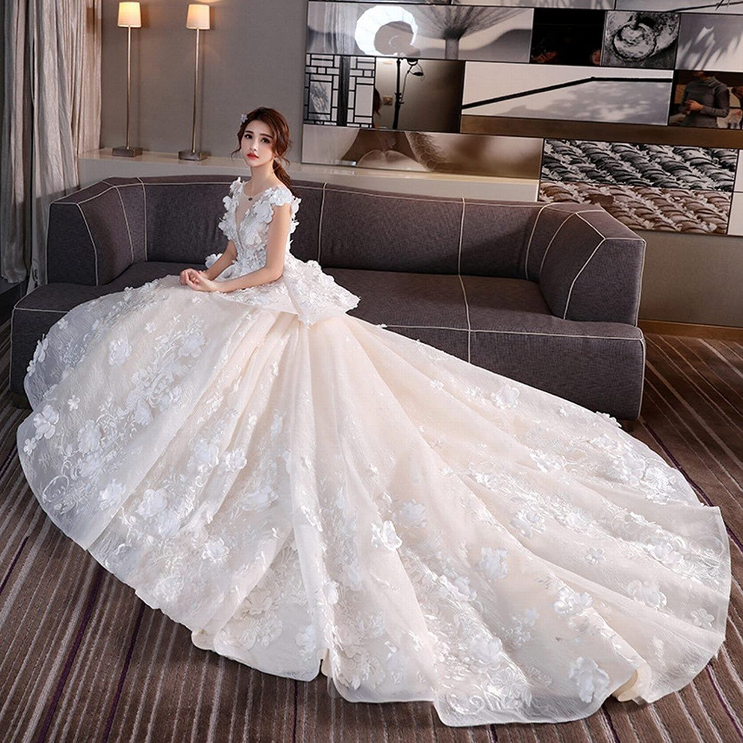 DHG Luxury Palace VNeck Wedding Dress Big Tail Lace Princess Married Bride