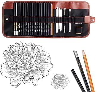 AGPTEK 53pcs Drawing and Sketching Pencil Set Sketching Pencil Set /& Canvas Zipper Case Teachers /& Students Sketchers with Pencil Watercolor Pencil Ideal for Artists
