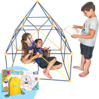 Fort Building Kit for Kids for Boys and Girls - 90 Pieces, Indoor Construction Set with Building Sticks, Connector Spheres...