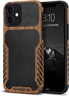 TENDLIN Compatible with iPhone 12 Mini Case Wood Grain with Leather Outside Design TPU Hybrid Case