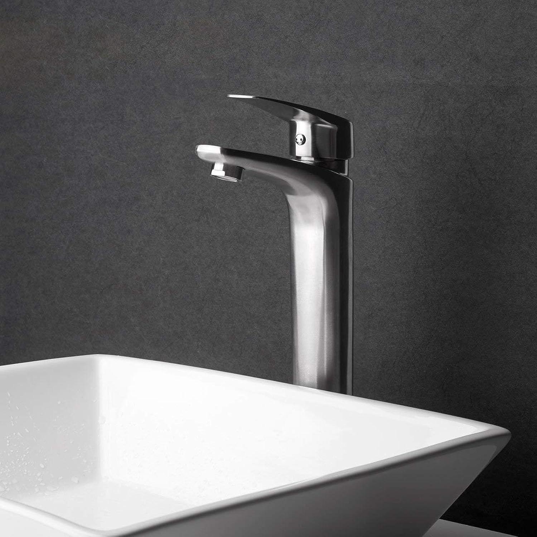 ZHAS Waschbecken Leitungswasser Mischbatterie Edelstahl Becken hei und kalt hohen Wasserhahn