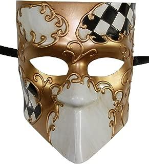 KAYSO INC Full Face Checker Bauta Venetian Jester Masquerade Mask Unisex