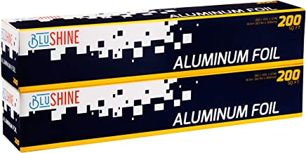 [ 2-Pack Aluminum Foil ] – of 200 Square Foot Roll - 12 Inch Silver Paper Wrap - Chemical & Toxin-Free Food Wrapping Paper...