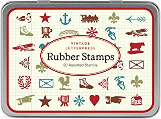 Cavallini Mini Vintage Letterpress 20 Assorted Wooden Rubber Stamps Packaged in a Tin