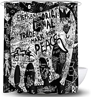 Whim-Wham Black White Elephant Graffiti Shower Curtain Royal Crown Street Fashion Shadow Car Geometric Pattern Bathroom Decor Curtain Set with 12 Hooks.