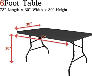 Obstal 6ft Stretch Spandex Table Cover for Standard Folding Tables - Universal Rectangular Fitted Tablecloth Protector for We