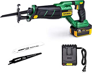 POPOMAN Brushless 20V MAX Reciprocating Saw with LED, Cordless Compact Reciprocating Saw kit with Battery Indicator, Step-less Variable Speed, 4.0 Ah Lithium-Ion Battery and 1 Fast Charger - MTW200B