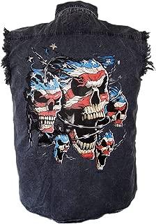 Men's Patriotic American Flag Skulls Denim Cutoff Biker Shirt
