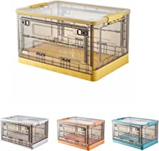 JIARIOME Collapsible Storage Bins with Lids - Folding Plastic Stackable Utility Crates, 52 L, 1 Count (Yellow)