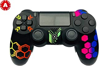 ps4 Controller PS4 Slim DualShock 4 Playstation 4 Wireless Controller - Custom AimController Hive Design with 4 Paddles. Upper Left Square, Lower Left X, Upper Right Triangle, Lower Right O