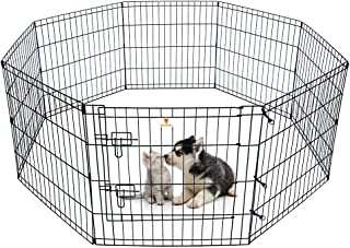"""PEEKABOO Dog Pen Pet Playpen Dog Fence Indoor Foldable Metal Wire Exercise Pen Puppy Play Yard Pet Enclosure Outdoor for Small Dogs Kittens Rabbits 8 Panels - 24"""""""