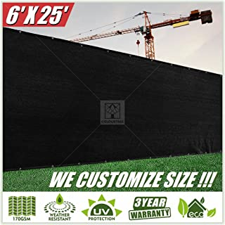 ColourTree 6' x 25' Black Fence Privacy Screen Windscreen Cover Fabric Shade Tarp Netting Mesh Cloth - Commercial Grade 170 GSM - Heavy Duty - 3 Years Warranty - Custom