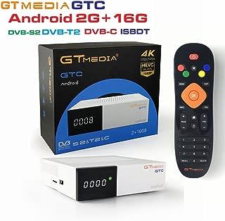 GTMedia GTC Satellite Receiver DVB-S2&T2&C ISDB-T Amlogic S905D Android 6.0 2GB RAM 16GB ROM BT4.0 Supports UHD 4K 30pfs/60fps H.265 MPEG-4