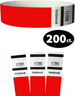 "Goldistock Original Series - 3/4"" Tyvek Wristbands Fiery Neon Red 200 Count - Event Identification Bands (Paper - Like Texture)"