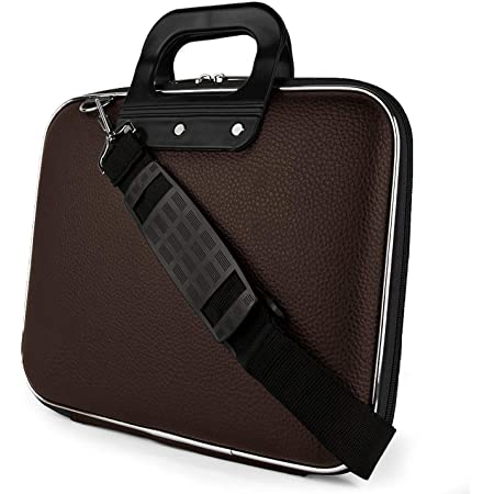 Style Homez SHLBPUHS01 Unisex Hard Shell Briefcase 14-inch Laptop Bag with Strap (Brown)