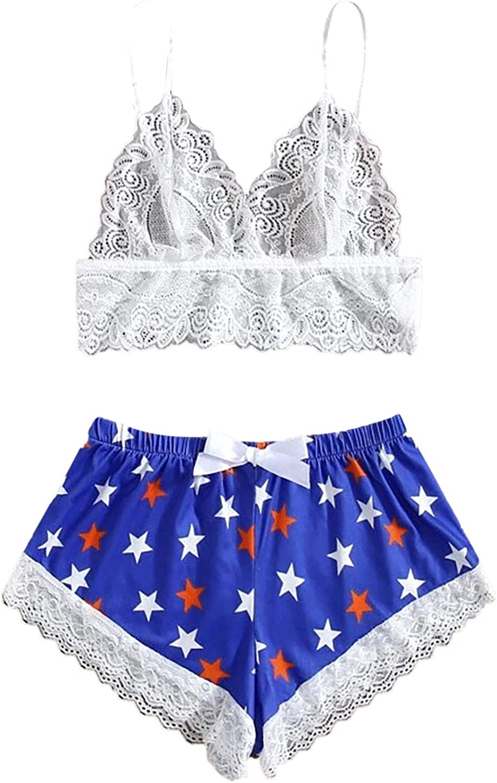Women's Lace Trim Satin Leopard Underwear Lingerie 2 Pieces Straps Bralette Cami and Shorts Set Sleepwear Pajama Set