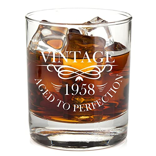 1958 Birthday Lowball Whiskey Glass For Men And Women