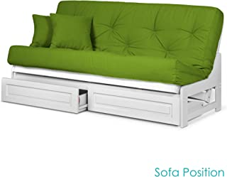 Nirvana Futons Arden White Futon Frame with Storage Drawers Queen Size - Solid Hardwood Armless Sofa Bed Frame Construction, Space Saving Design Ideal for RV, Small Rooms, and Dorms