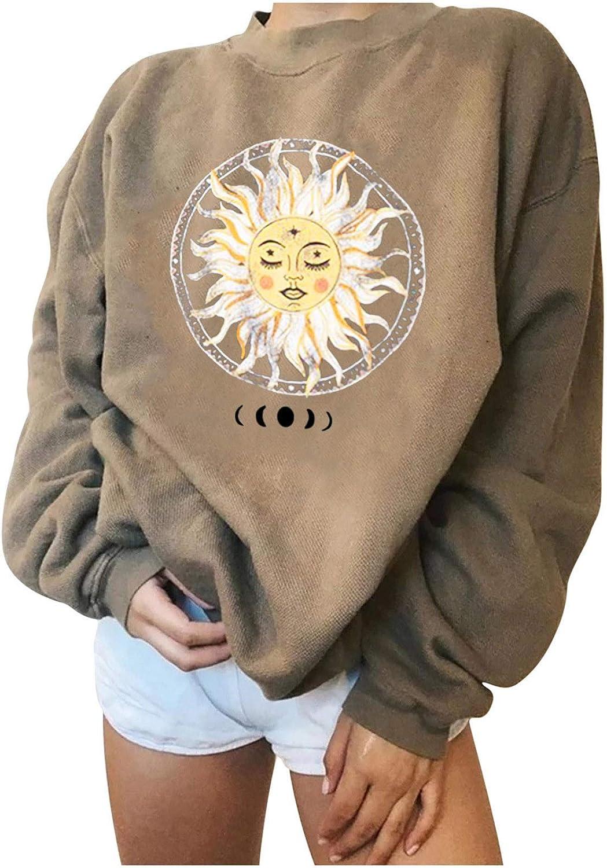 Women Vintage Graphic Sweatshirt Crewneck Cute Sun Shirt Novelty Print Long Sleeve Casual Loose Fitting Pullover Tops