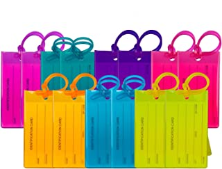 14 Pack TravelMore Luggage Tags For Suitcases, Flexible Silicone Travel ID Identifier Labels Set For Bags & Baggage - Mult...