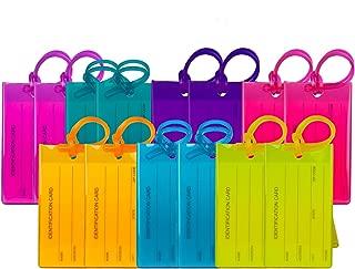 Hommes et Femmes Paquet de 4 /étiquettes de Valise en polyur/éthrane TravelMore Lot d/étiquettes didentification de Voyage pour Sacs et Bagages Noir avec Rabat de Protection
