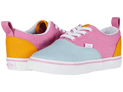 Vans Kids Era Elastic Lace (Infant/Toddler) ((Color Block) Fuchsia Pink/True White) Girls Shoes